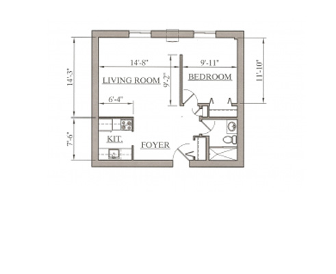 Efficiency floor plans the normandy for Efficiency floor plans